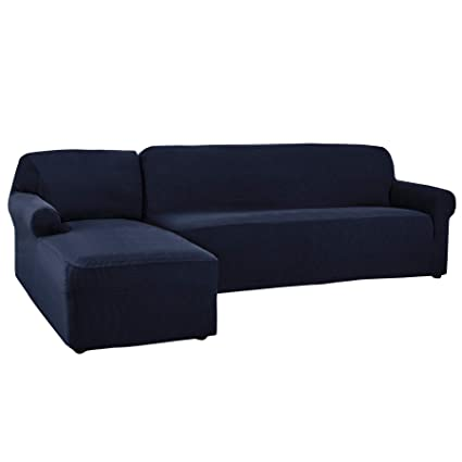 CHUN YI 2 Pieces L-Shaped Jacquard Polyester Stretch Fabric Sectional Sofa  Slipcovers (Left Chaise, Dark Blue)