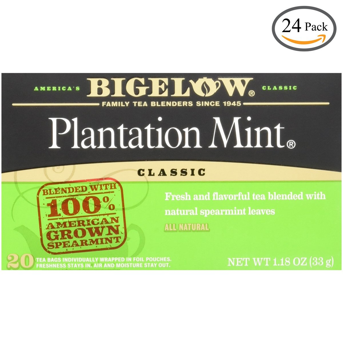 Bigelow Plantation Mint Tea, 20-Count Boxes (Pack of 24) by Bigelow Tea (Image #1)