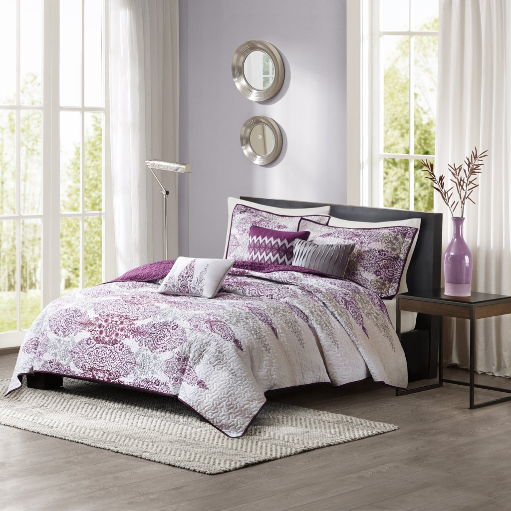 Madison Park Sonali King/Cal King Size Quilt Bedding Set - Purple, Floral Damask – 6 Piece Bedding Quilt Coverlets – Ultra Soft Microfiber Bed Quilts Quilted Coverlet