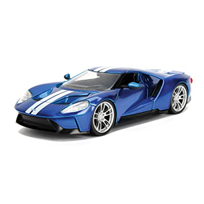 2020 Ford GT Candy Blue with White Stripes Bigtime Muscle 1/24 Diecast Model Car by Jada 99390: Toys & Games