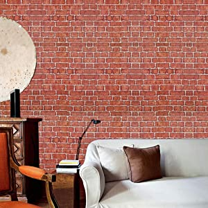 Coavas Red-Brick-Wallpaper, Self-Adhesive with Good Home Decoration Faux Brick Printed Stick Paper Easy to Stick and Peel (17.7x196.9 inch)