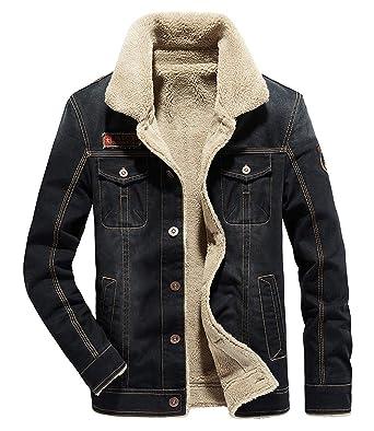 731c1c74fc Fuwenni Men s Fleece Denim Jacket Winter Fall Warm Cowboy Coat Outerwear  Parka Black S