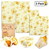 Beeswax Wraps, Womdee 3 Pack Reusable Food Wraps | Organic Cotton Bees Wax Wraps | Natural Alternative To Plastics | Washable Sustainable Zero Waste Wax Paper