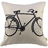 """SIXSTARS Decorative Linen Cloth Pillow Cover Cushion Case Bicycle, 18"""" x 18"""""""