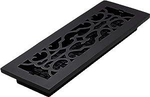 Decor Grates AC414-BLK Victorian Floor Register, 4 x 14, Cast Iron Black