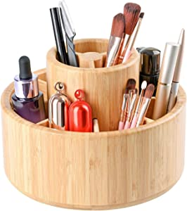 Bamboo Makeup Organizer,Rotating Art Supply Desk Organizer,Pencil Holder Organizer,Desktop Storage Caddy for Pen,Boxalls 360 Degree Adjustable with 11 Separate Compartments