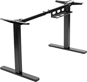 VIVO Electric Stand Up Desk Frame for 38 to 75 inch Table Tops (Frame Only), Single Motor Ergonomic Standing Height Adjustable Base with Simple Controller, Black (DESK-EV00B)