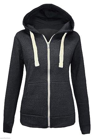 New Plain para Mujer Traje de Neopreno para Mujer Zip UP de Forro Polar Chaqueta con Capucha para Mujer Tallas Desde la XS M tamaños L y XL: Amazon.es: ...