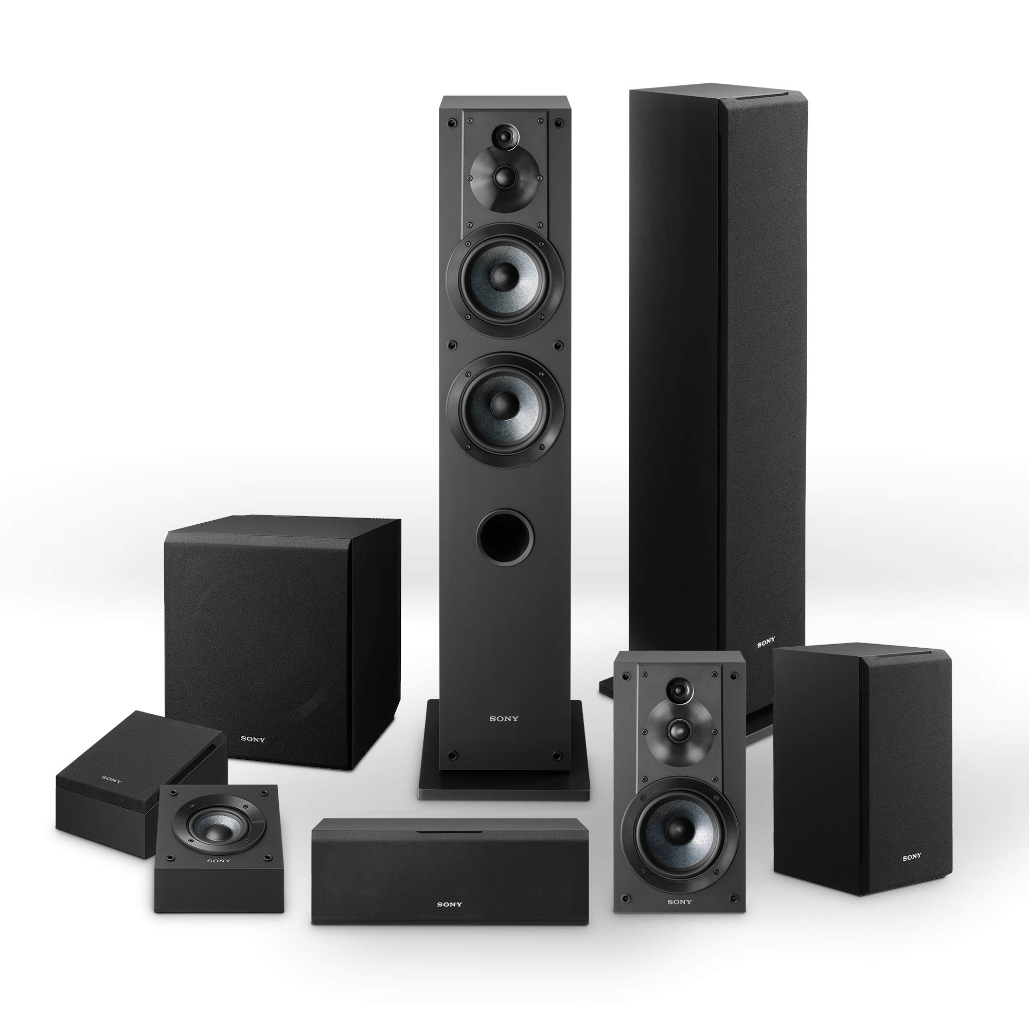 Sony CS Series Speakers Bundle SSCS3 Floor Standing Speaker 2 SSCSE Dolby Atmos Enabled SACS9 Subwoofer SSCS8 Center Channel