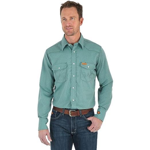 340f4da8539 Amazon.com  Wrangler FR Lightweight Work Shirt - Green Geo Print ...
