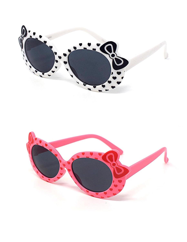 1 x blanco 1 x rosa color niños niños niñas elegante lindo diseñador estilo gafas de sol de alta calidad con un arco y un corazón estilo UV400 gafas de sol de tonos UVA UVB protección