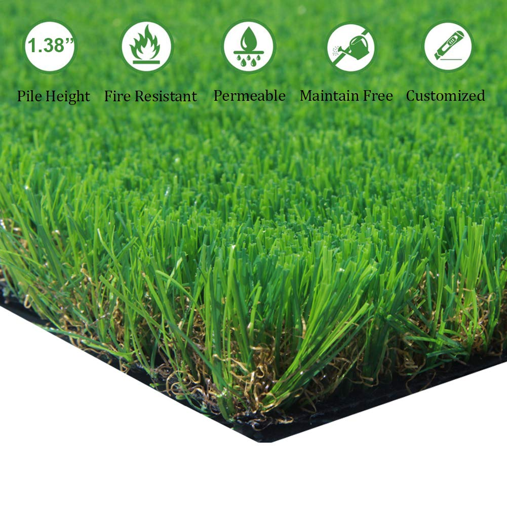"AGOOL 3.3ft x 5ft Artificial Grass Thick Synthetic Rubber Backed with Drainage Holes Fake Turf Mat, 1 3/8"" Blade Height, 3.3 5 16.5 Square ft 1 3/8"" Blade Height"