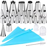 32 Pieces Cake Decorating Supplies, Seacue Cake Decorating Tip Set with 20 Stainless Icing Tips, 5 Large Piping Nozzles, 1 Grass Nozzle, 1 Puffs Tip, 2 Couplers, 1 Brush, 2 Silicone Pastry Bags