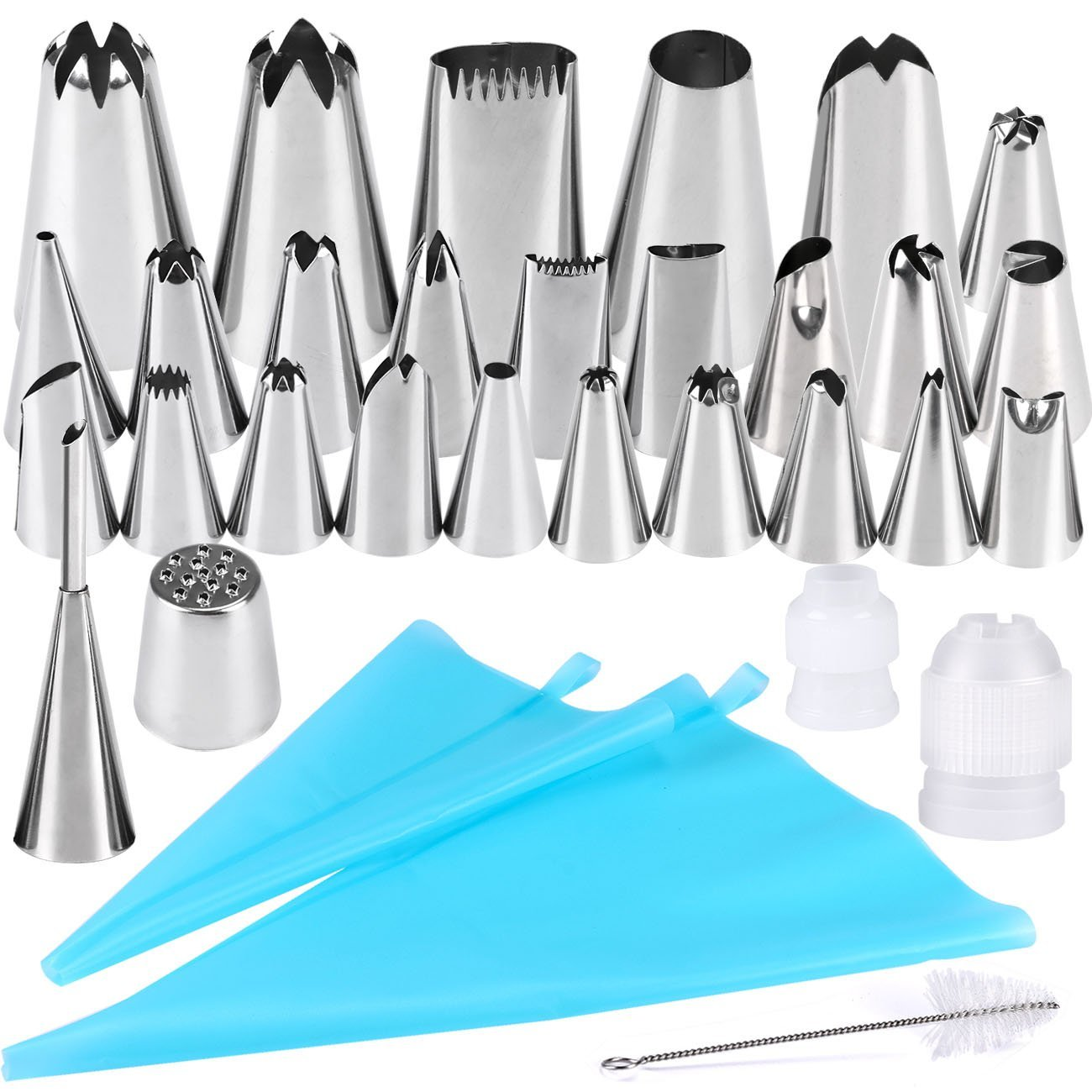 32 Pieces Cake Decorating Supplies, Seacue Cake Decorating Tip Set with 20 Stainless Icing Tips, 5 Large Piping Nozzles, 1 Grass Nozzle, 1 Puffs Tip, 2 Couplers, 1 Brush, 2 Silicone Pastry Bags KC034-