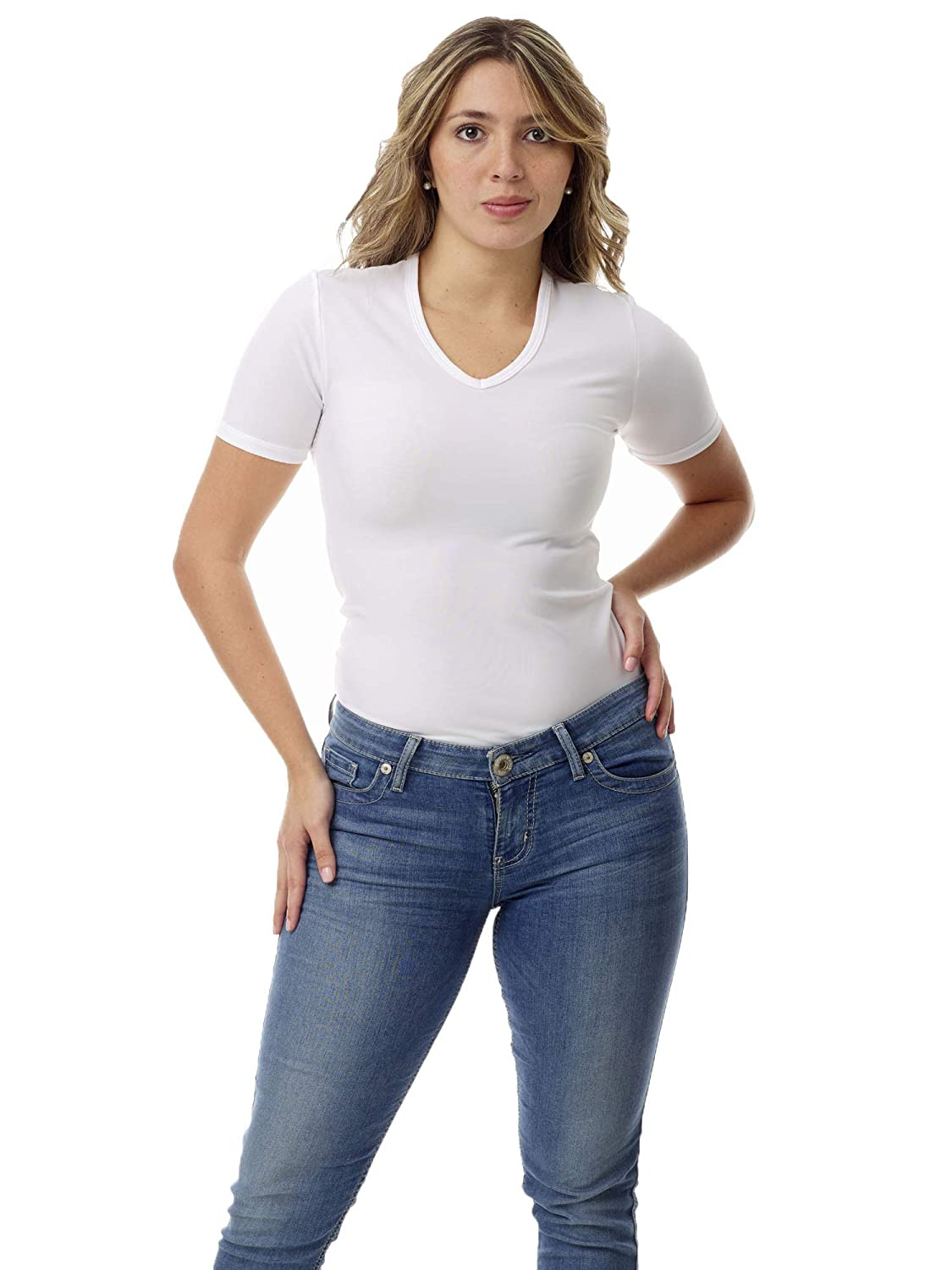 Underworks Womens Microfiber Compression Minimizer V-Neck T-shirt