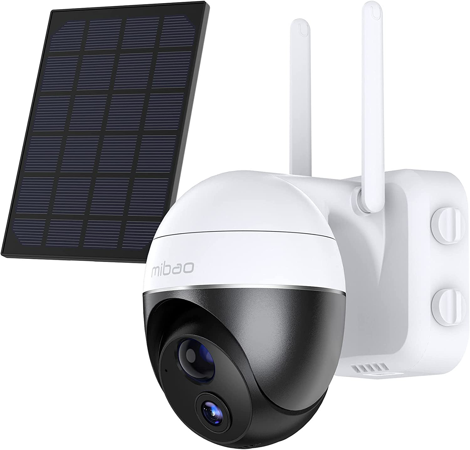 Security Camera Outdoor, mibao 15000mAh Rechargeable Wireless Home Camera System, IP65 Waterproof, Night Vision, Motion Detection, Two-Way Audio, Cloud Storage/SD Card Slot (Solar Panel Included)