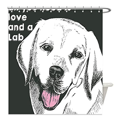 Liguo88 Custom Waterproof Bathroom Shower Curtain Polyester Animal Cute  Labrador Dog Vintage Seemed Image With Love