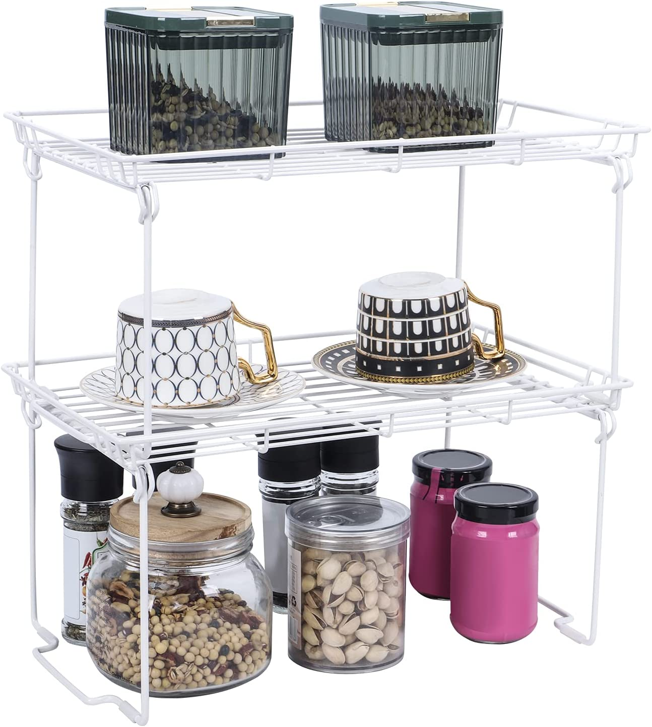 Qboid SP Stackable Kitchen Cabinet Shelf -2 Pack White Cabinet Organizers and Storage -Pantry Shelves Organizer with Guardrails Design for Food, Canned Goods, Condiments - Shelf Size: 15x7.6x9.0