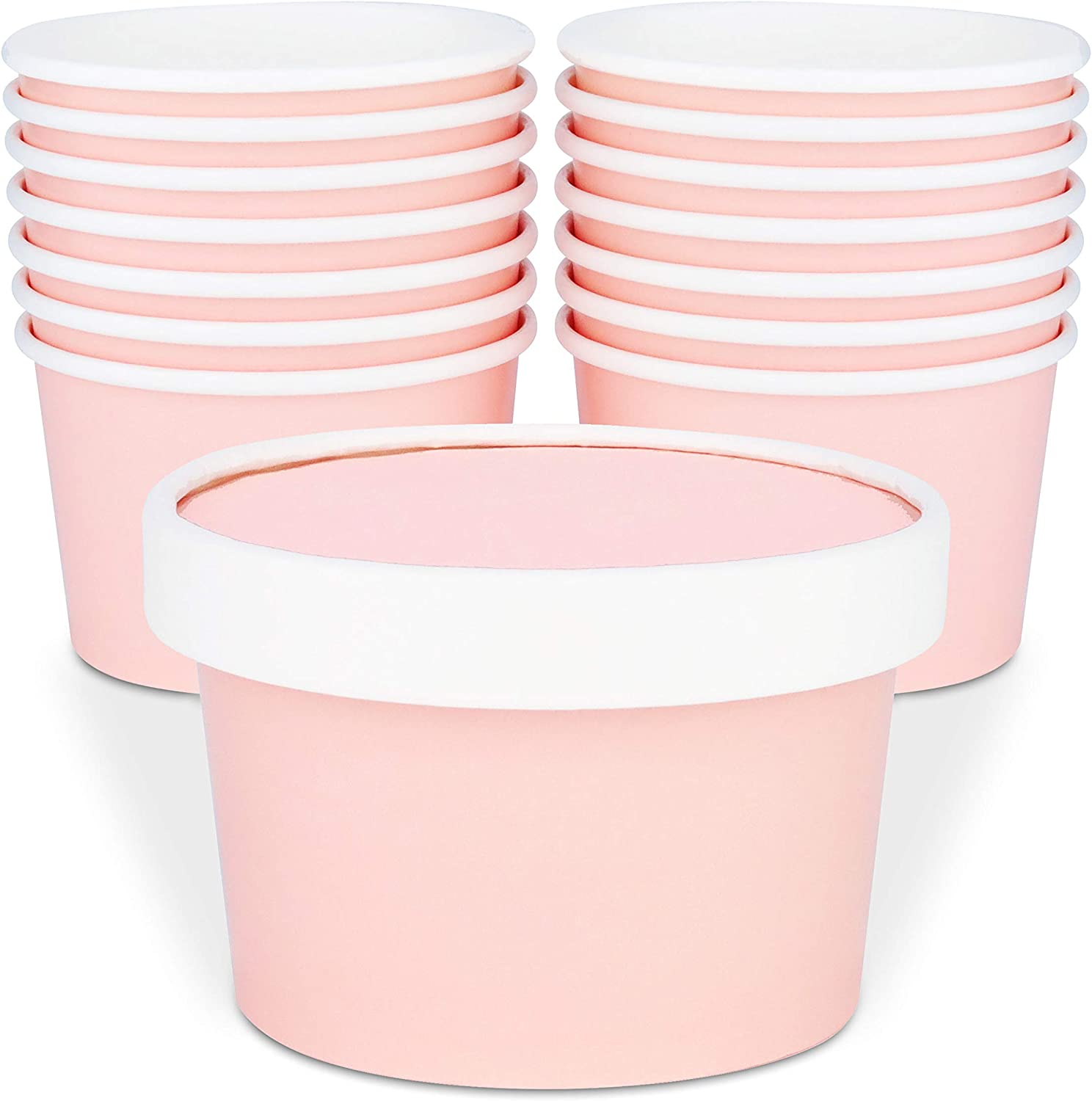 Glowcoast Ice Cream Containers With Lids - 6 oz (Mini Pint, 30 set) Ice Cream Storage Container for Homemade Icecream. Freezer-Safe Tub with Lid Protect Frozen Desserts like Yoghurt (Peach, 30)