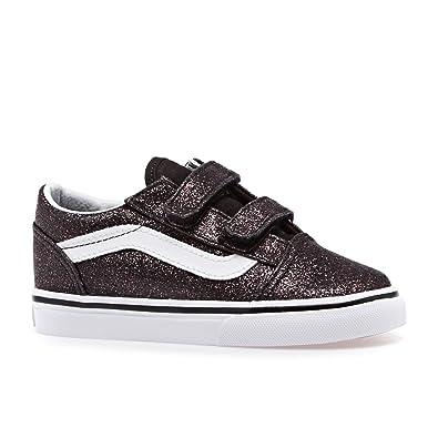 5628d9974a Amazon.com | Vans TD Old Skool V Black Glitter Stars Canvas Infant ...