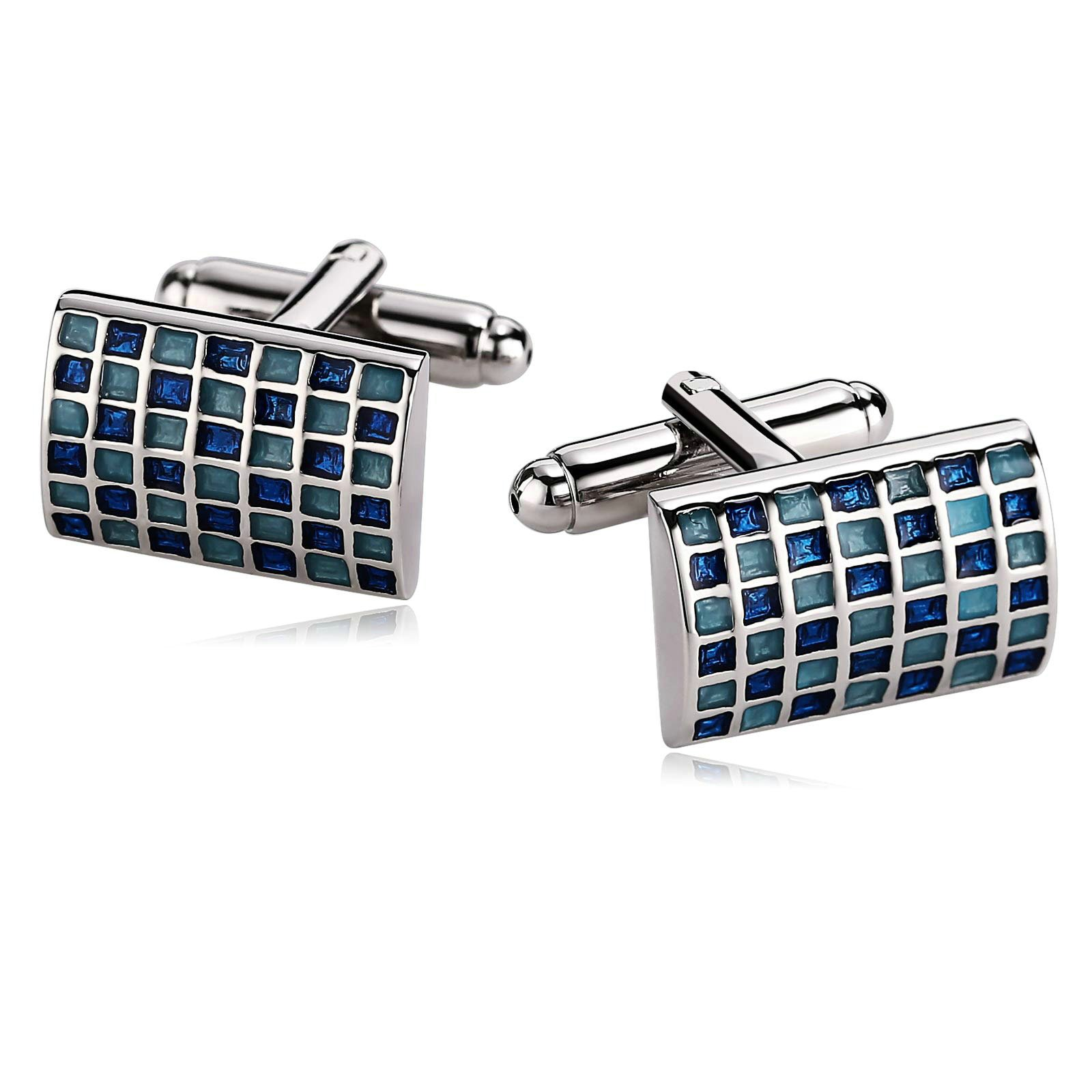 Gnzoe Stainless Steel Men's Shirt Cuff Links Business Wedding Grid 2-Color Construction Blue by Gnzoe (Image #1)