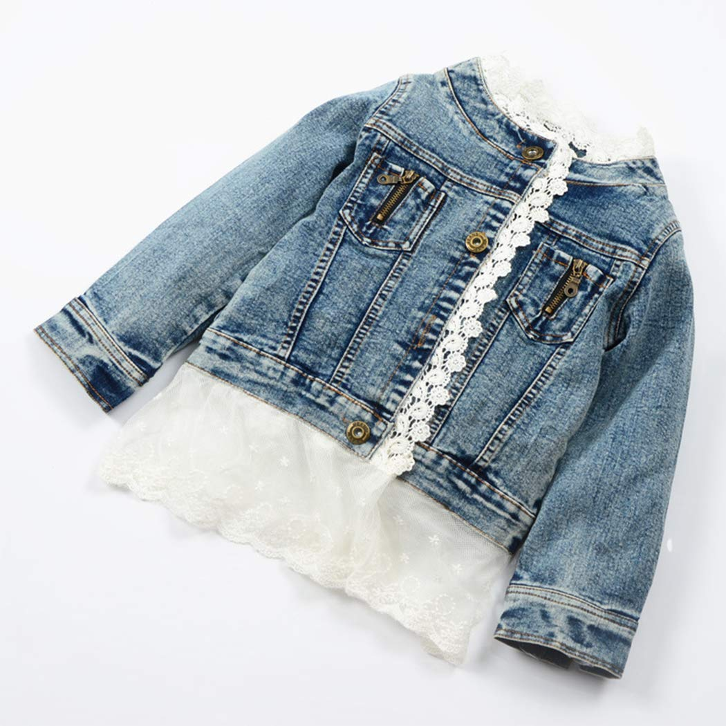 xzbailisha Children Girls Button Down Lace Collarless Coat Denim Jacket