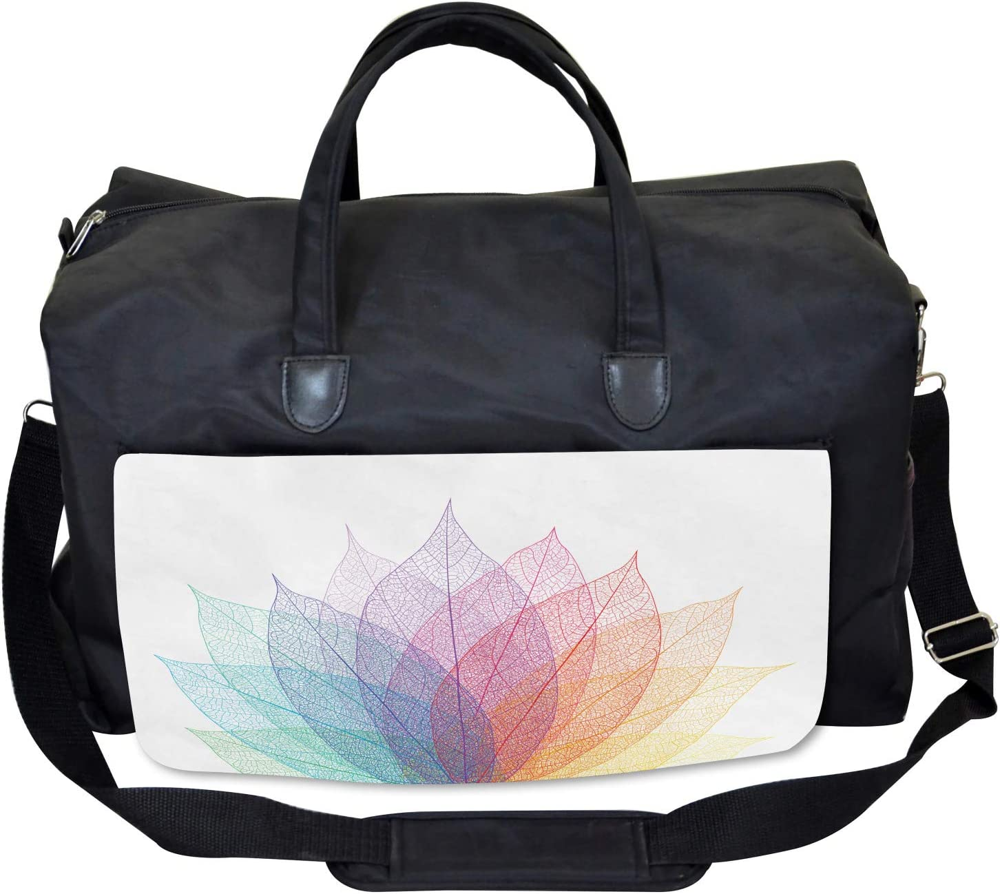 Delicate Leaves Art Large Weekender Carry-on Ambesonne Abstract Gym Bag