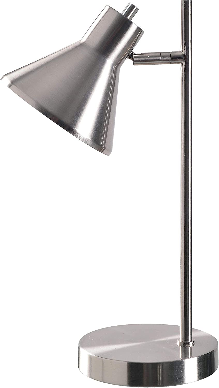 Kenroy Home Modern Desk Lamp 7 Inch Ext 11 Inch Width 18 Inch Height Brushed Steel Finish, Small (33074BS)