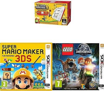 Consola Nintendo 2DS Rojo + New Super Mario Bros 2 + Super Mario Maker + LEGO: Jurassic World: Amazon.es: Videojuegos