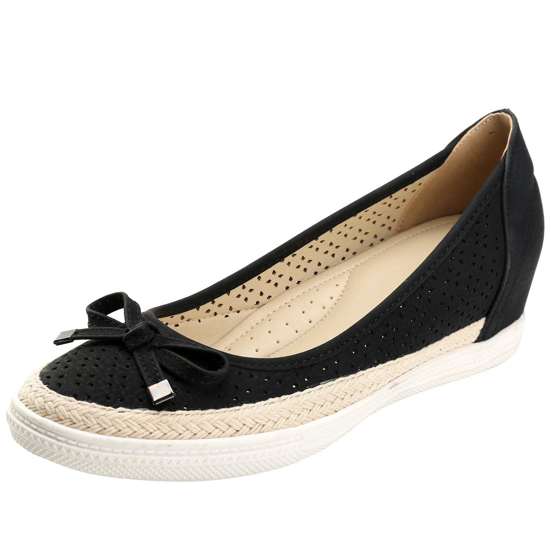 Alexis Leroy Cutout Round Toe Flower Breathable Women's Espadrille Shoes B01N4IE60S 37 M EU / 6-6.5 B(M) US Black