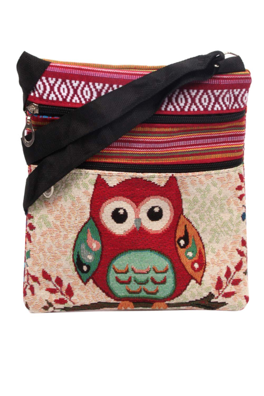 Women Ethnic Harper Crossbody Bag Owl Print Phone Wallet Purse Red One Size