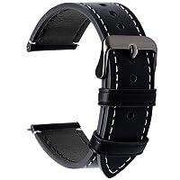 Fullmosa 4 Colori per Cinturino Orologio, Pelle Cinturino SmartWatch Braccialetto Cinturini di Ricambio Band Orologio da Polso Cinturino Sostituzione 22mm, Nero + fibbia grigia fumé