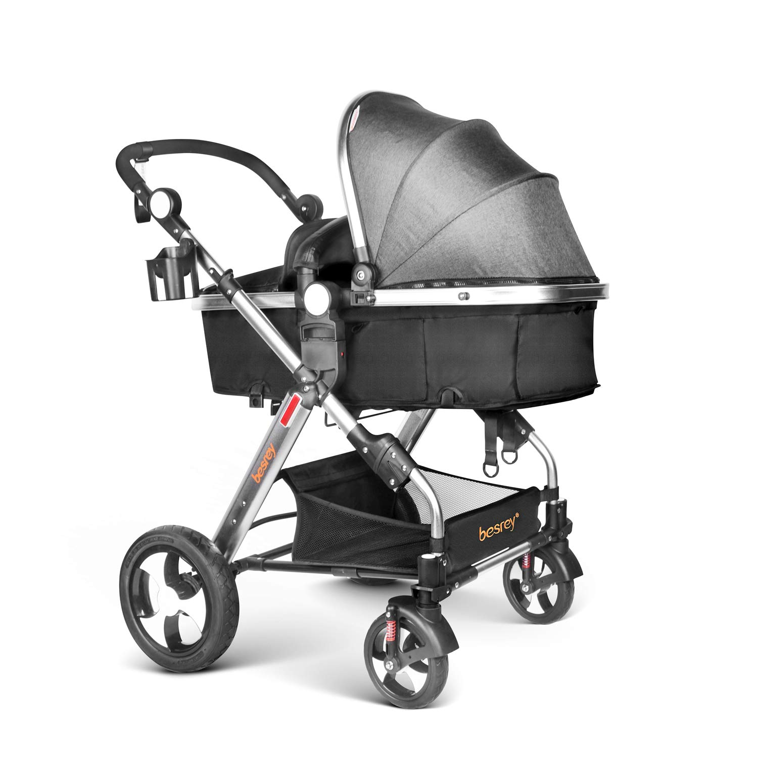 Infant Baby Stroller for Newborn and Toddler - Besrey Convertible Bassinet Stroller Luxury Pram Compact Single Baby Carriage, Gray