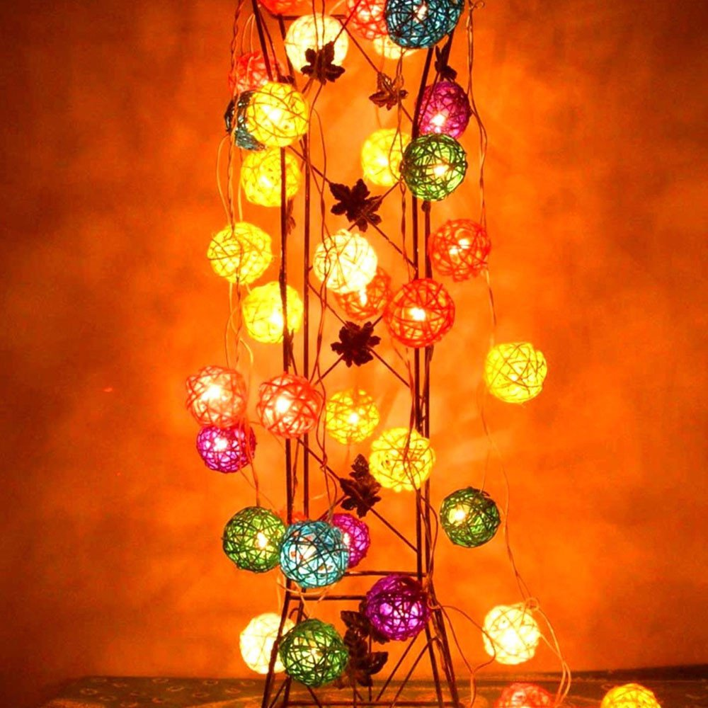 Glumes LED Rattan Ball String Fairy Lights|20 Lamp|9.8 ft/ 3 m |Hanging Indoor Outdoor Decoration for Christmas Party Wedding Holiday Birthday Garden Patio Bedroom (Green)