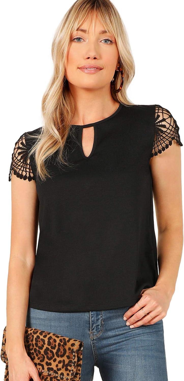 SheIn Women's Elegant Lace Cut Out Crewneck Short Sleeve Blouse Shirt Top