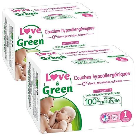 Love & Green – Pañales hipoalergénicos 0% para bebé, lote de 2 x 23