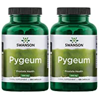Swanson Pygeum Prostate Support Urinary Tract Health Men Herbal Supplement 100 mg Pygeum Extract (6.5% phytosterols) with 400 mg Powdered Bark 120 Capsules (2 Pack)