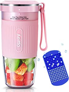 Portable Blender, Cordless Personal Blender Juicer, Mini Mixer, Smoothies Maker Fruit Blender Cup With USB Rechargeable, 10oz/300ml for Home, Office, Sports, Travel, Outdoors, by Aeitto, Pink