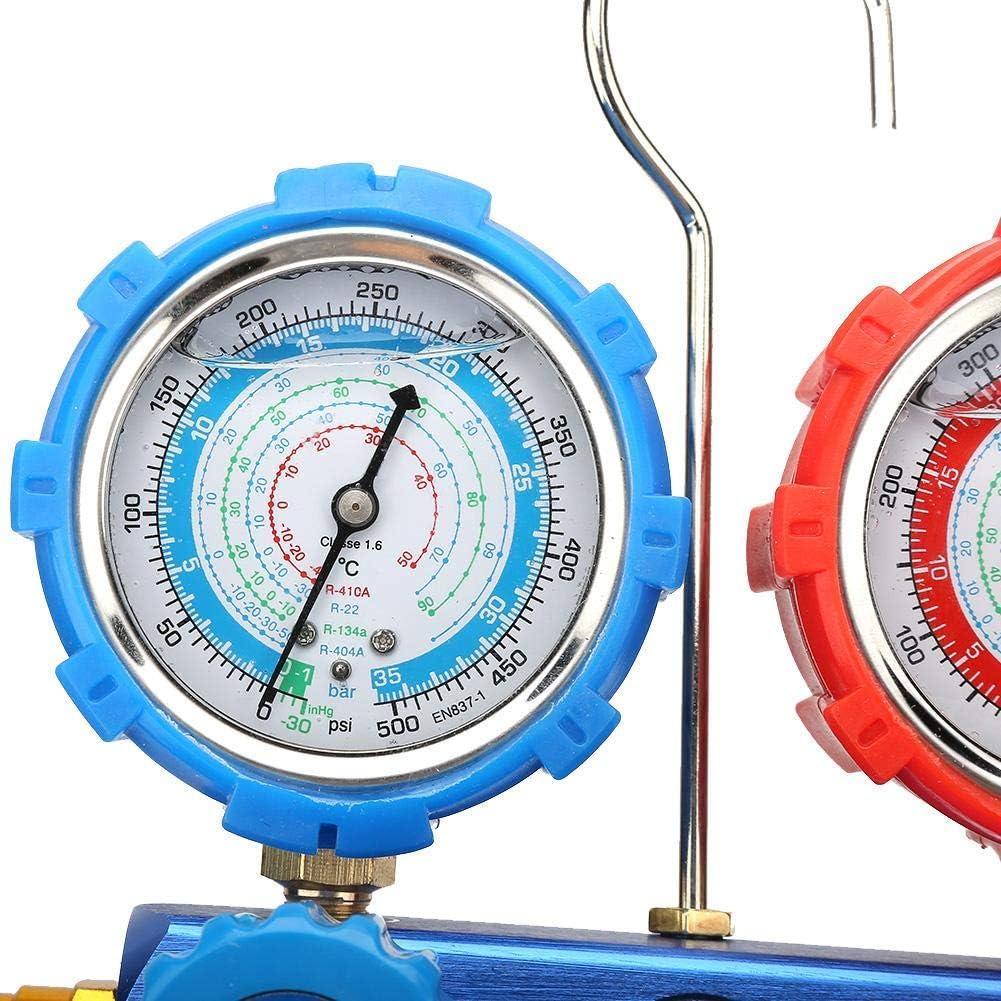 Man/ómetros de diagn/óstico de AC para aire acondicionado juego de v/álvulas de doble colector herramienta de diagn/óstico de refrigeraci/ón de aire acondicionado y refrigeraci/ón