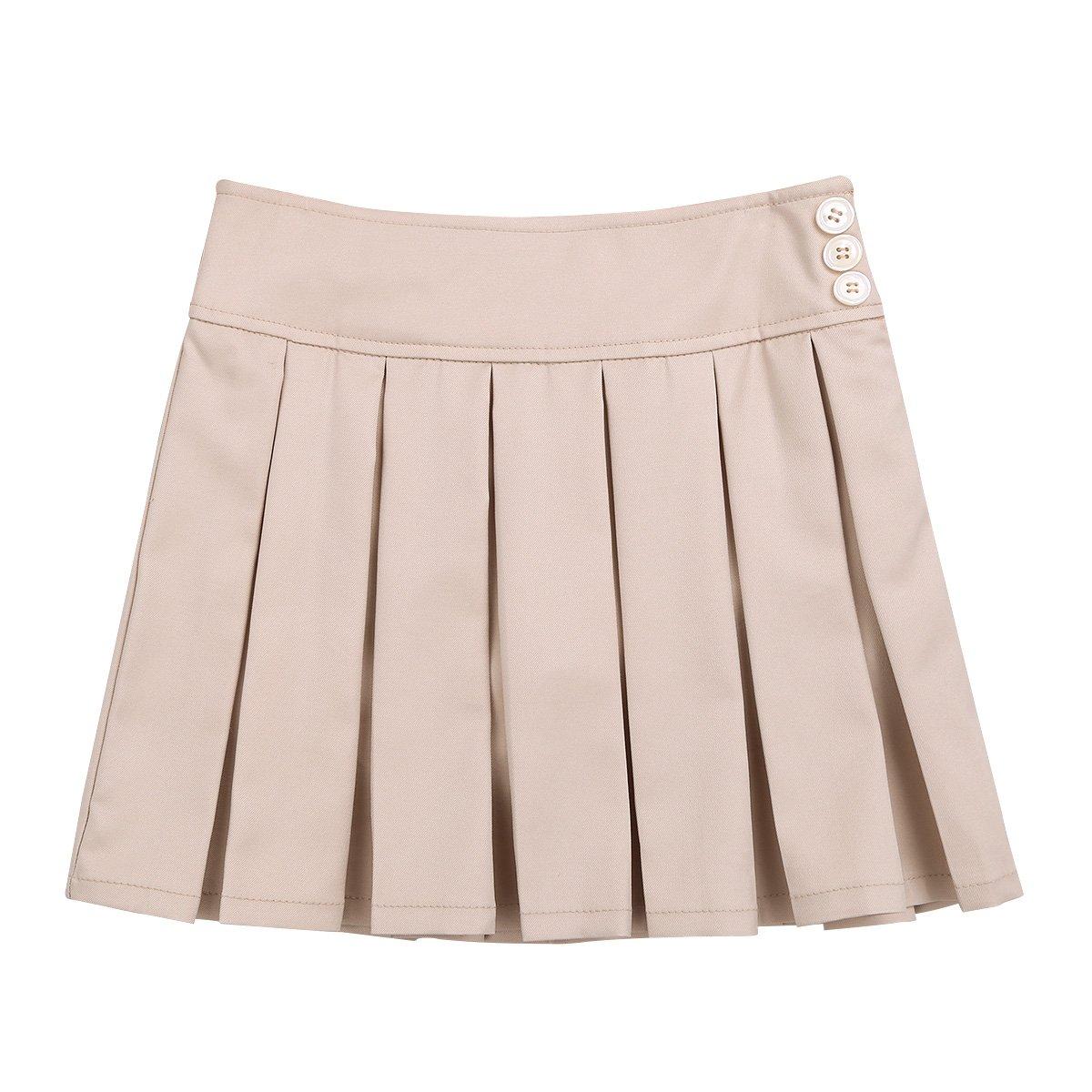 Freebily Kids Girls' Two-Tab Pleated Side Zipper Buttons Scooter School Uniform Skirt Khaki (Side Zipper Buttons) 12