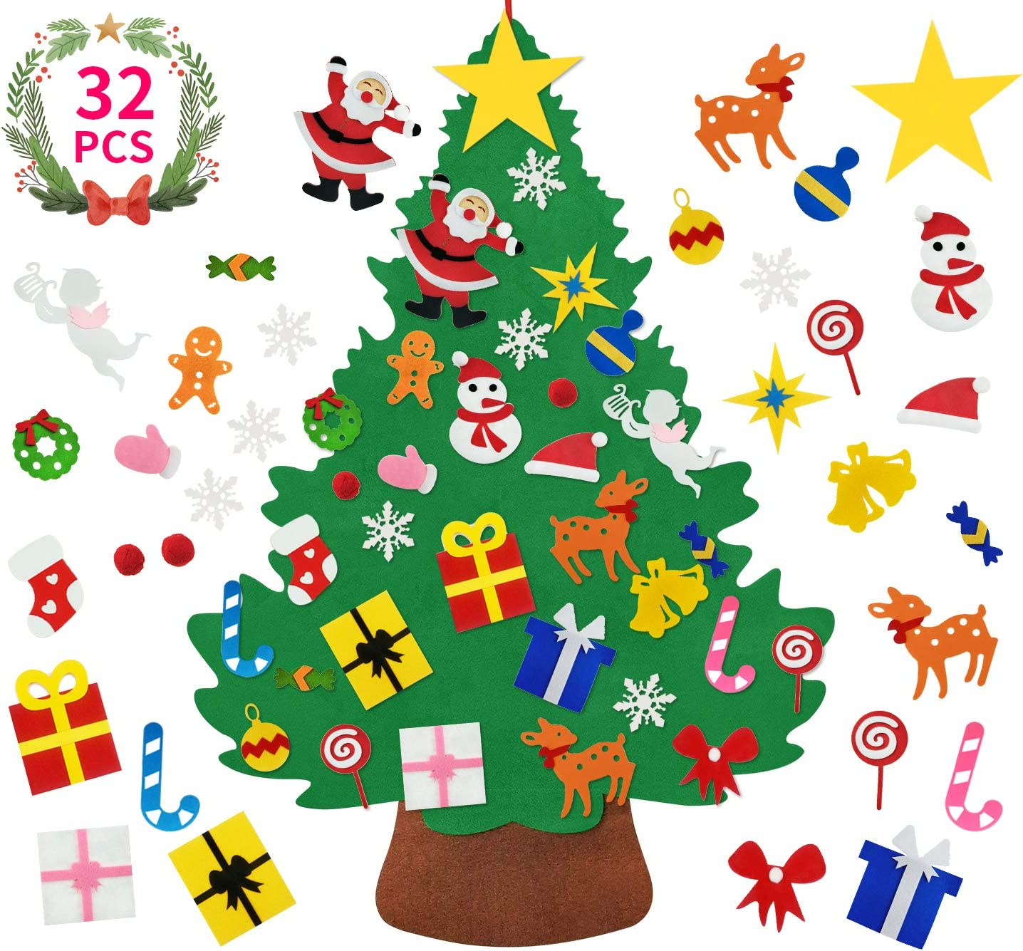 Felt Christmas Tree for Toddlers-3.3 FT Upgrade 3D DIY Set for Kids with 32 Pieces of Xmas Gifts Ornament Decor, Wall Hanging Christmas Tree Decorations