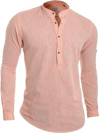 Hombre Camisa Henley Casual Collar de pie Algodón Lino Slim ...