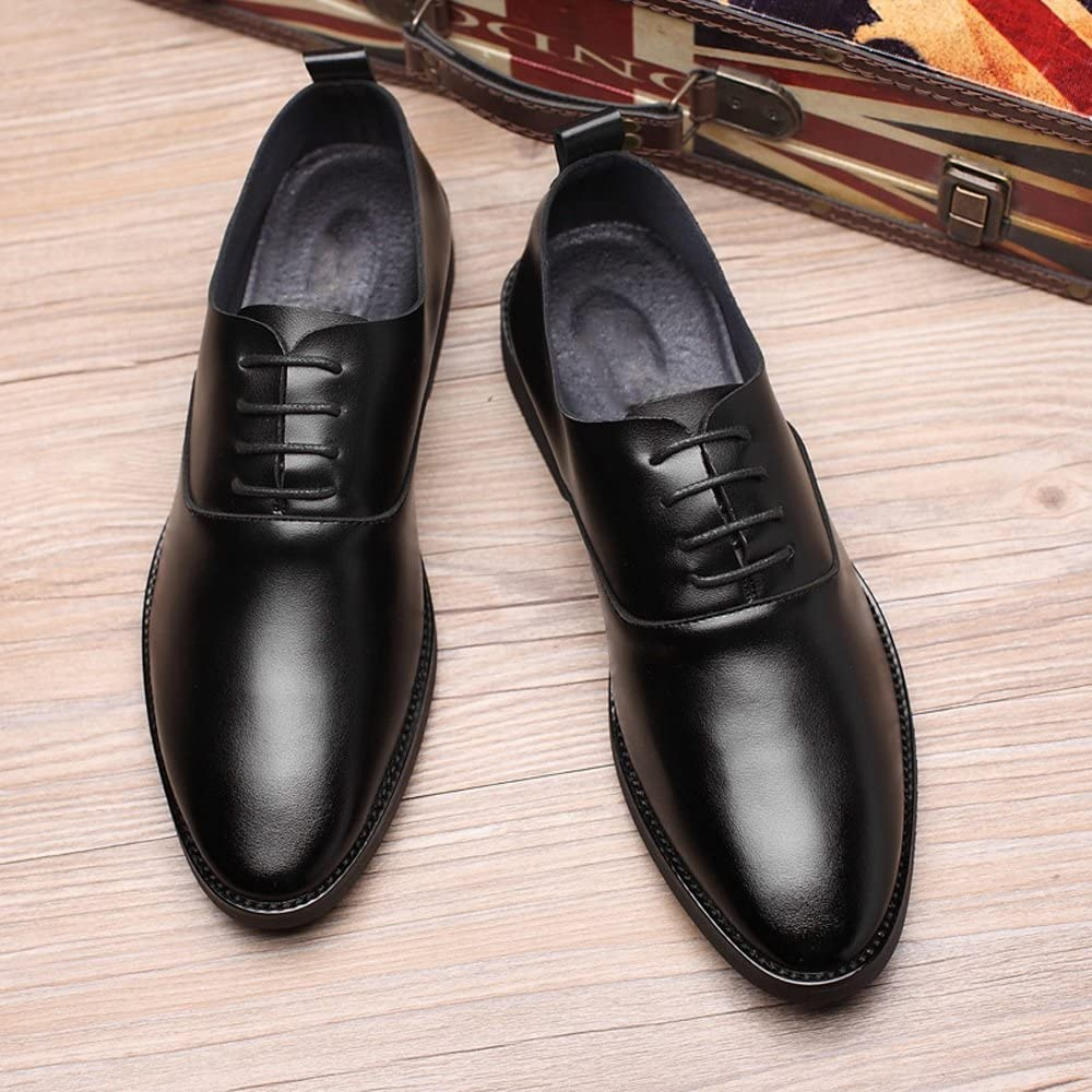 MUMUWU Mens Low Top Shoes Casual Matte PU Leather Loafers Lace Up Breathable Pointed Toe Shoes
