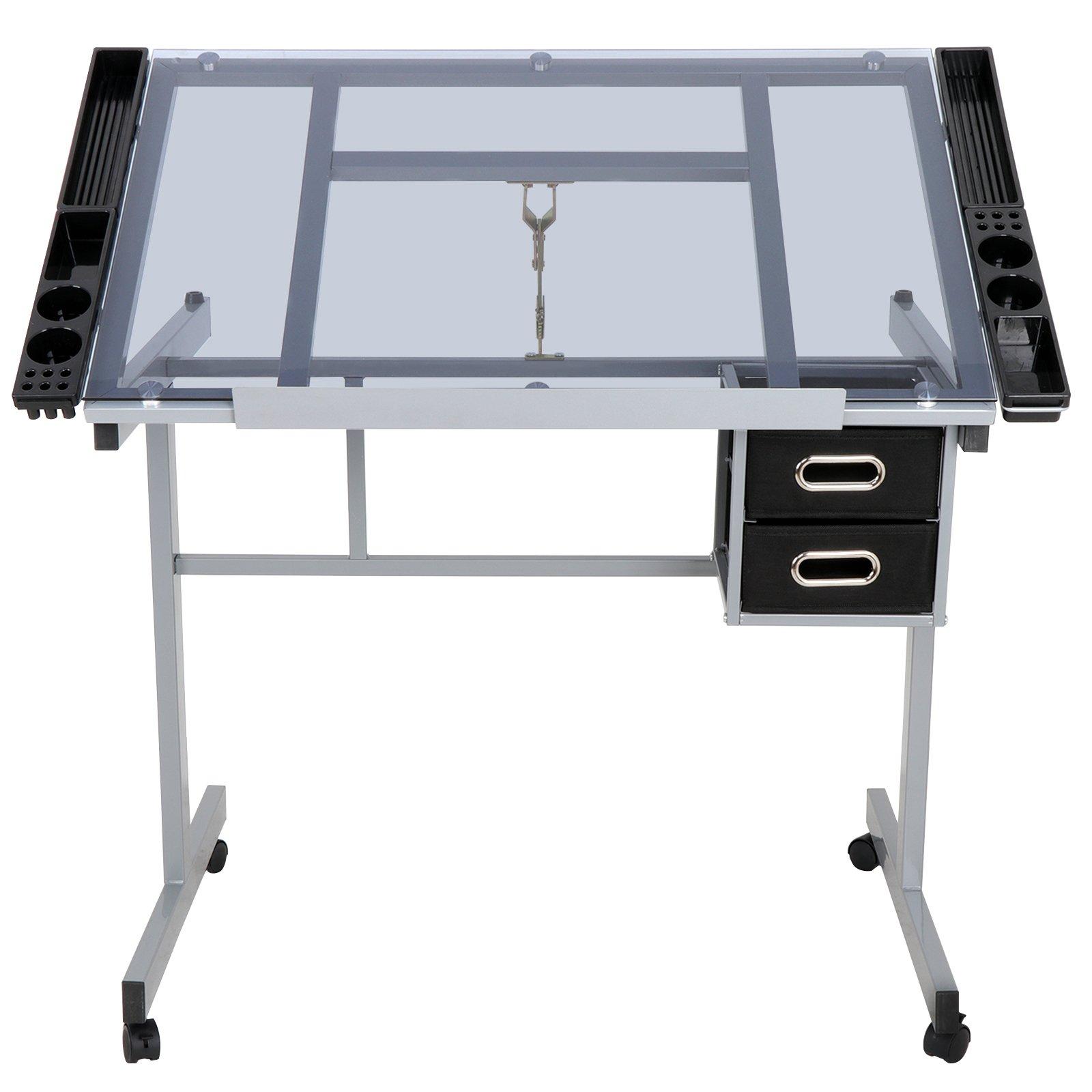 JupiterForce Adjustable Drafting Table Drawing Desk Height Art Craft Work Station Folding Glass Tabletop Storage Drawer for Reading Writing by JupiterForce