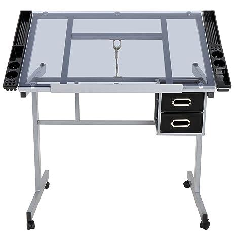 Amazon.com: Mesa de dibujo ajustable con taburete, altura de ...