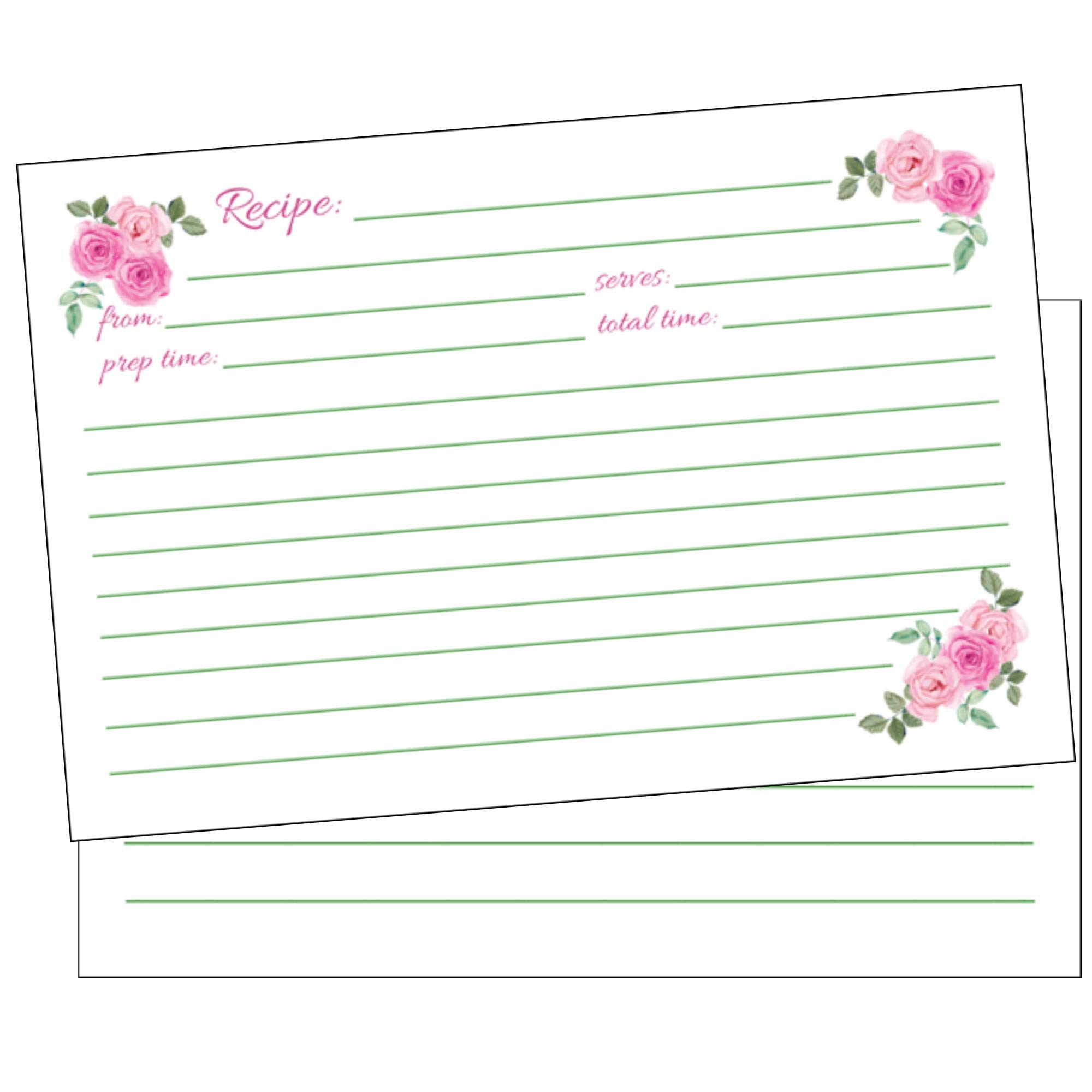 50 Floral Recipe Cards Pink Rose 4x6, Double Sided, Wedding Bridal Shower Card, Blank Plain Printable Recipe Card for Box-Cook Book Index Cards, Cute Pretty Rustic Country Classic Kids Personalized