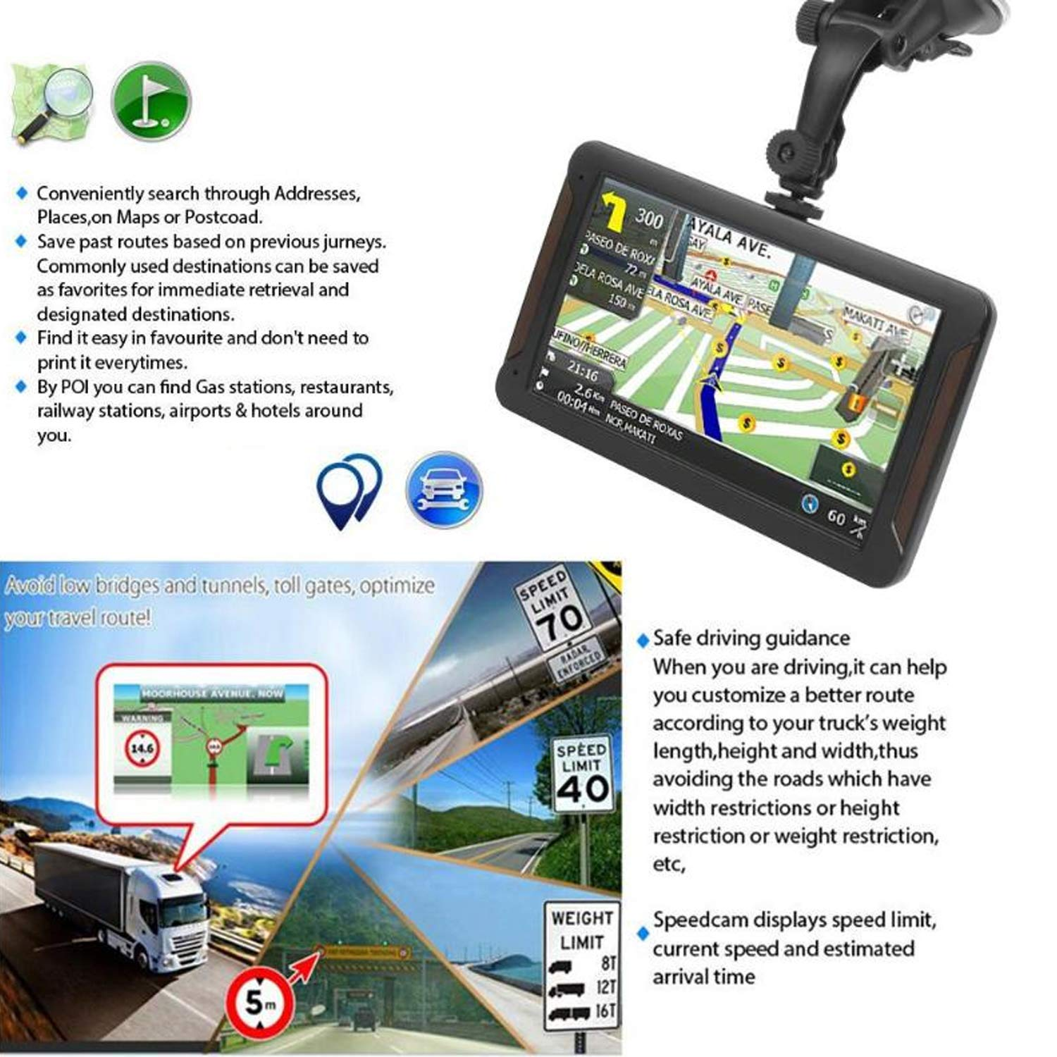 AONEREX GPS Navigation 7inch HD-8GB 256Mb Car GPS Navigation, Voice Traffic Warning,Speed Limit Reminder Satellite Navigation System with Non-Slip Car Bracket Holder-Lifetime Free Map Updates by Aonerex (Image #6)