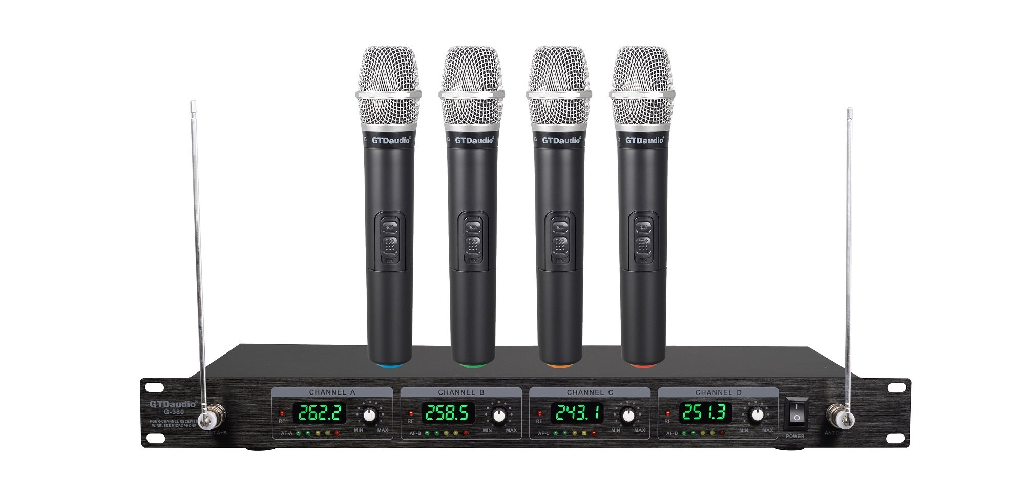 GTD Audio G-380H VHF Wireless Microphone System with 4 Hand held mics
