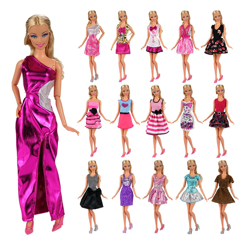 Barwa 12 Pcs Mini Dresses Handmade Doll Clothes Accessories Europe CE-EN71 Certified for Barbie Doll Tug of War Wedding Party Dresses