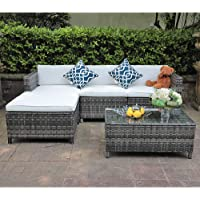 Deals on Patiorama 5Pc Outdoor Sectional Furniture w/Cushion, 2 Pillows
